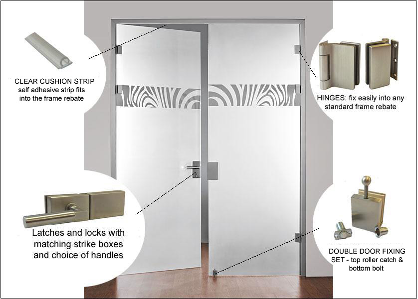 Full Glass Double Doors With Hinges Locks Latches