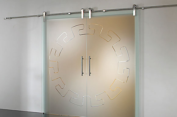 Rolling tracks for full glass double doors