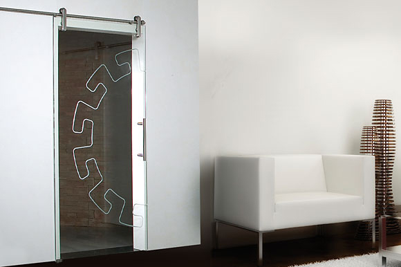 Rolling track systems for full glass single doors
