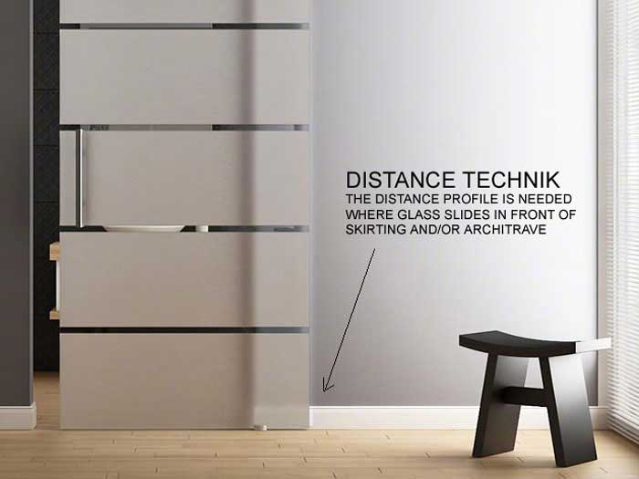 Distance Spacer extension profile for walls with architrave and skirting